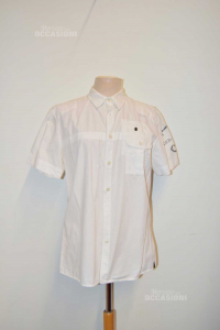 Shirt Man Sleeve Short White Deblasio Size M