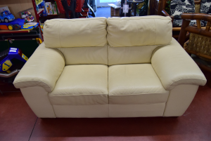 Sofa Two Seats In Fior Of Leather Beige Made In Italy