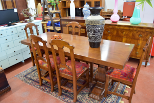 Wooden Table Sturdy With 6 Wooden Chairs And Fabric Red