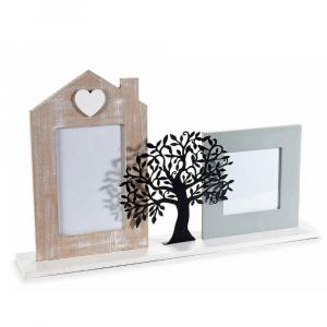 Portafoto in legno con albero della vita in metallo