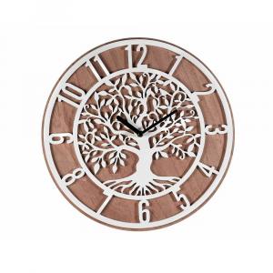 Orologio da parete in legno con decoro albero della vita