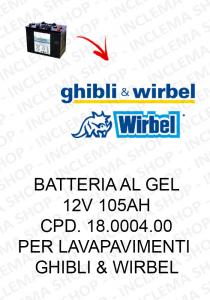BATTERIA AL GEL 12V 105 Ah cod. 18.0004.00 per lavapavimenti Ghibli & Wirbel