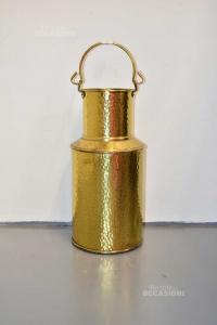 Vase Bidone Holder Milk Brass Worked 52 Cm Tall