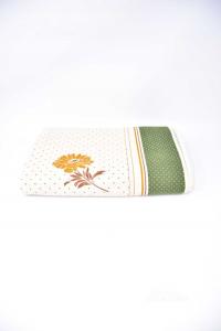 Tablecloth In Linen Beige Bordo Green Polka Dot 136x172 Cm