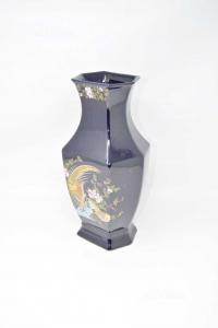 Ceramic Vase Blue With Bird 31 Cm