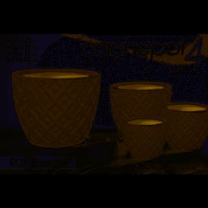 Set di 4 Cachepot Caspò Colore Tortora Vasi in Ceramica per Giardino e Spazi Verdi In 4 Misure con Decorazione Rombo Casa Giardino