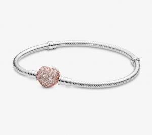 Bracciale Moments – Maglia snake in argento con chiusura a cuore rose pavè
