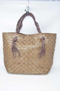 Bag Summer Parah Brown Type Rafia Braided 46x32 Cm