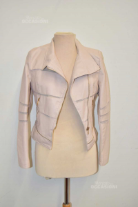 Jacket Woman In Faux Leather Nuna Lie Pink With Cerniere Size S
