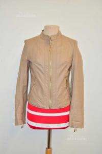Jacket In Faux Leather Woman Beige Size S