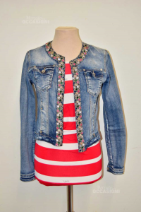 Jacket Woman In Jeans With Edge And Collar Diamantato Size S