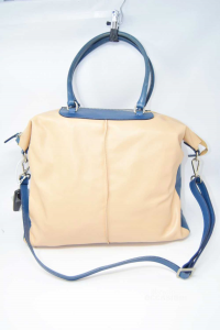 Bag In Real Leather Pink Antique And Blue With Shoulder Strap