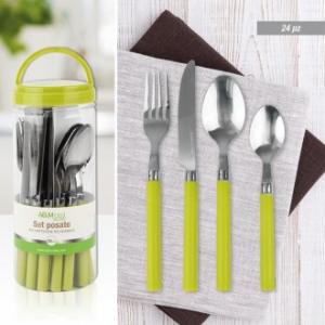 Set Di Posate Linea Celery 24 Pezzi Con Manico Verde Neon Moderno Casa Set Per La Tavola