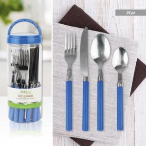Set Posate 24 Pezzi Linea Blu Colore Blu Chiaro Manico in Plastico Posata in Acciaio Inossidabile Servizio Per La Tavola