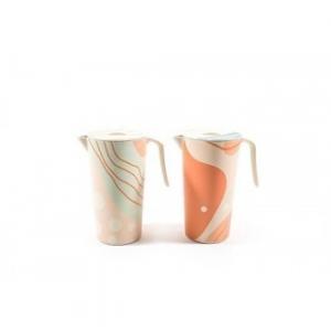 Caraffa Linea In Fibra di Bamboo 22 cm Decorata Arancione Verde Con Manico Per Vari Tipi di Bevande Cucina Casa