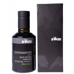 Condimento a base di olio extravergine di oliva e basilico
