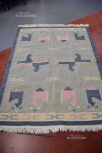 Carpet In Fiber Of Wool Colorful Blue Light Blue Pink 200x140 Cm