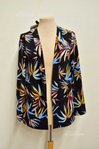 Cardigan Woman Motives Black With Leaves Colored Size.40