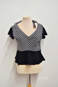 T-shirt Woman Sisley Black With Lines White Size.m New