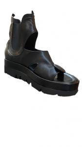 Sandalo donna|pelle nera|infradito a bottone|suola alta|Made in italy