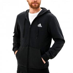 Felpa Adidas con Zip e Cappuccio Logo sul retro Nera da Uomo