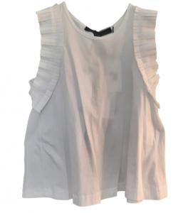 Maglia donna bianca| maglina cotone| volant sulla spalla|Made in Italy