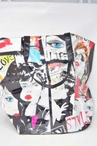 Fabric Bag And Plastic Coveri With Volti Ritratti S