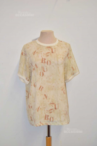 T-shirt Woman Emanuel Hungarian Color Beige Fantasy Vintage Size L