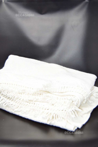 Bedspread Double White With Fringes
