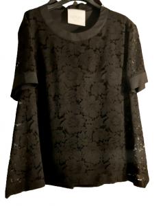 Maglia nera donna pizzo di cotone cerniera sulla spalla  Made in Italy