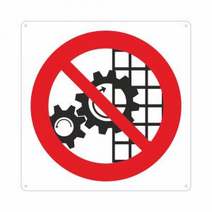 Cartello con simbolo vietato rimuovere i dispositivi di sicurezza