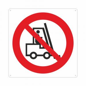 Cartello con simbolo vietato l'accesso ai carrelli elevatori