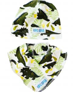 Set baby Dino verde: cappello + bavetta baby