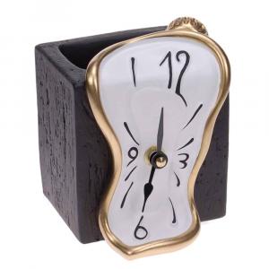 Orologio da tavolo bianco portamatite in resina decorata a mano