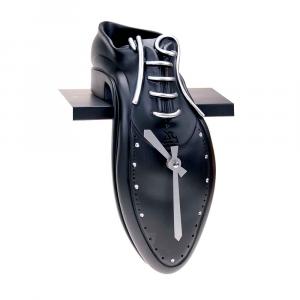 Orologio da mensola TipTac nero in resina decorata a mano