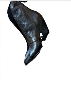 Stivaletto donna   pelle nera   tacco rientrante 7 cm   Made in Italy