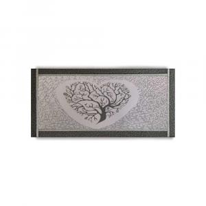 Quadro Ariel ecopelle nera albero della vita 15 canvas+glitter argento 132x62cm