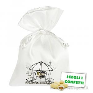 Portaconfetti Bianco con coppia sposi su carrozza 9.5x13 cm - Sacchetti matrimonio