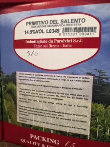 Bag in box Primitivo del Salento