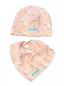 Set baby Unicorni Rosa: cappello + bavetta baby
