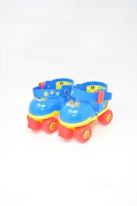 Pattini Regolabili Paw Patrol Bimbi Blu Gialli Rossi N Max 27-28 M