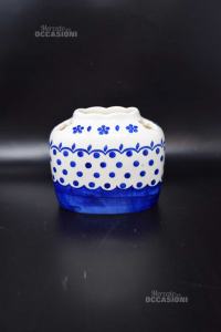 Vaso In Ceramica Blu Bianco Altezza 10 Cm