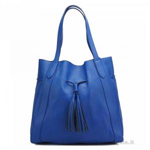 Borsa Blu elettrico a spalla in pelle - Prudenzia - Pelletteria fiorentina