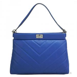Borsa Blu elettrico a mano con tracolla in pelle - Rossella - Pelletteria fiorentina