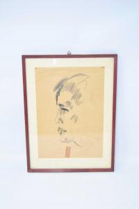 Quadretto Gessetto Su Carta Raffigurante Bambino 'seghetti' 36 X 27 Cm