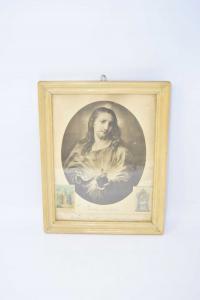 Quadretto In Legno Con Stampa Del Signore Gesù Che Benedisce La Famiglia 30 X 23 Cm