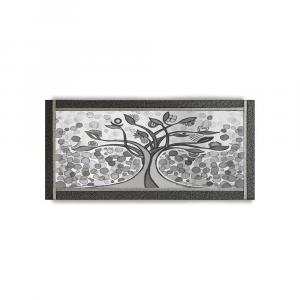 Quadro Ariel ecopelle nera albero della vita 26 canvas+glitter argento 132x62cm