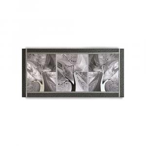 Quadro Ariel ecopelle nera astratto 35 canvas+glitter argento artigianale 132x62
