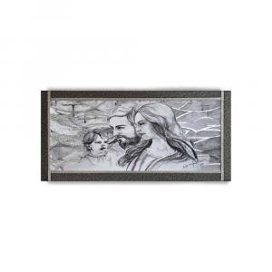 Quadro Ariel ecopelle nera capezzale sacra famiglia 19 canvas+argento 132x62cm