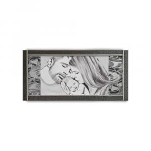 Quadro Ariel ecopelle nera capezzale 20 famiglia canvas+glitter argento 132x62cm